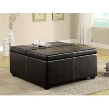 Open Storage Leatherette Cocktail Ottoman