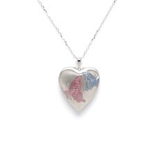 Heart Shaped Butterfly Locket in Silver