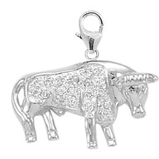 14K White Gold Diamond Bull Charm