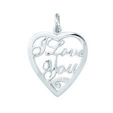 1.6 Grams Sterling Silver I Love You Heart Charm