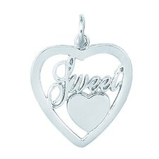 "Sterling Silver ""Sweet"" Heart in Heart Charm"