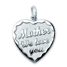 "Sterling Silver ""Mother We Love You"" in Heart Charm"