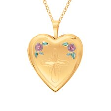 Heart Shaped Locket with Cross and Flowers in Gold