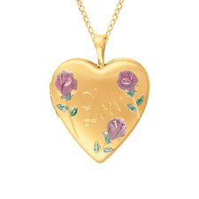 Heart Shaped 'Love' Locket with Flowers in Gold