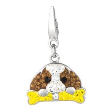 <strong>EZ Charms</strong> Crystal Dog and Bone Charm with Swarovski Elements