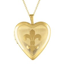 "<strong>EZ Charms</strong> ""Fleur de Lis"" Heart Locket Necklace"