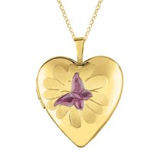 Butterfly and Flower Heart Locket Necklace