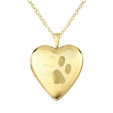 Paw-Print Heart Locket Necklace