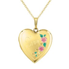 Heart Shaped Love Locket with Flowers Necklace