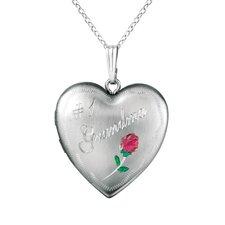 """Rose """"#1 Grandma"""" Heart Locket Necklace"""