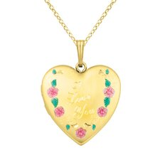 "Flowers ""I Love You"" Heart Locket Necklace"