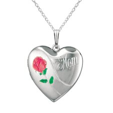 "Heart Shaped Locket with Rose ""Mom"" Necklace"