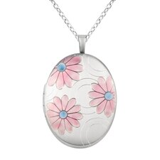 Colored Flowers Oval Locket Necklace