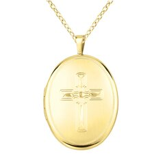 Cross Oval Locket Necklace