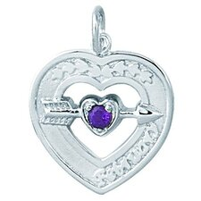 Sterling Silver Heart with Birthstone Necklace