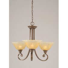 <strong>Toltec Lighting</strong> Curl 3 Up Light Chandelier with Crystal Glass Shade
