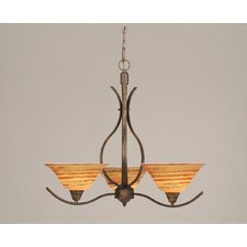 <strong>Toltec Lighting</strong> Swoop 3 Up Light Chandelier with Glass Shade