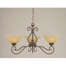 <strong>Toltec Lighting</strong> Olde Iron 3 Light  Chandelier with Crystal Glass Shade