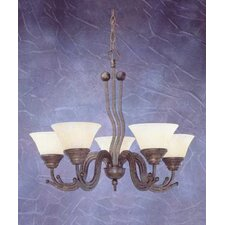 <strong>Toltec Lighting</strong> Wave 5 Light  Chandelier with Marble Glass Shade