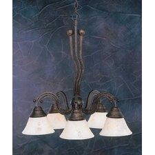 <strong>Toltec Lighting</strong> Wave 5 Light  Chandelier with Italian Marble Glass Shade