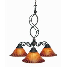 <strong>Toltec Lighting</strong> Jazz 3 Light  Chandelier with Tiger Glass Shade