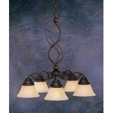 <strong>Toltec Lighting</strong> Jazz 5 Light  Chandelier withMarble Glass Shade