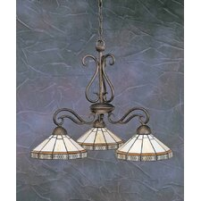 Olde Iron 3 Light  Chandelier with Mission Glass Shade