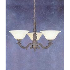 <strong>Toltec Lighting</strong> Olde Manor 3 Light  Chandelier with Marble Glass