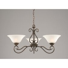 <strong>Toltec Lighting</strong> Olde Iron 3 Light  Chandelier with Marble Glass Shade