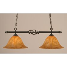 <strong>Toltec Lighting</strong> Eleganté 2 Light Kitchen Island Pendant