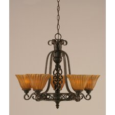 <strong>Toltec Lighting</strong> Eleganté 5 Light Up Chandelier with Tiger Glass