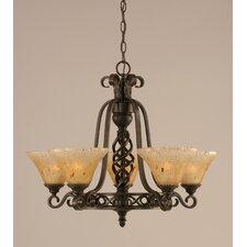 Eleganté 5 Light Up Chandelier with Crystal Glass