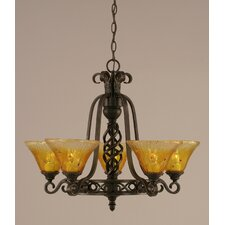 <strong>Toltec Lighting</strong> Eleganté 5 Light Up Chandelier with Crystal Glass