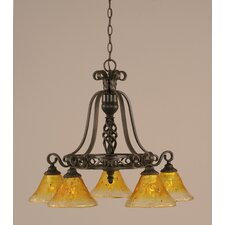 <strong>Toltec Lighting</strong> Eleganté 5 Light Down Chandelier with Crystal Glass