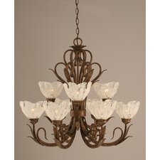 Swan 9 Light  Chandelier with Crystal Glass Shade