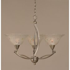 <strong>Toltec Lighting</strong> 3 Light Chandelier with Frosted Crystal Glass