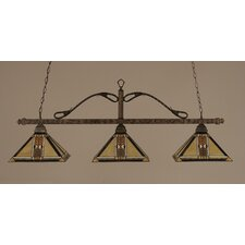 <strong>Toltec Lighting</strong> Square 3 Light Billiard Pendant