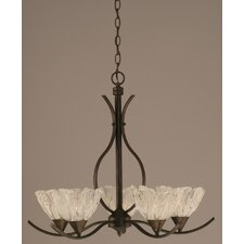 <strong>Toltec Lighting</strong> Swoop 5 Light Chandelier with Italian Ice Glass Shade
