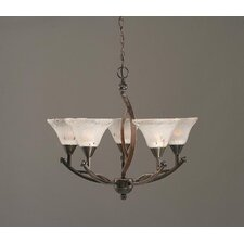 <strong>Toltec Lighting</strong> Bow 5 Light Up Chandelier with Crystal Glass