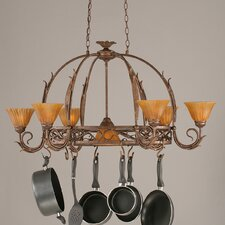 <strong>Toltec Lighting</strong> Leaf 8 Light Chandelier Pot Rack with Tiger Glass Shade
