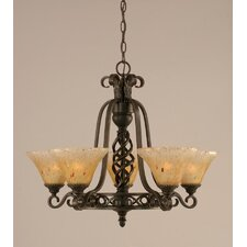 Eleganté 5 Uplight Chandelier with Firré Saturn Glass