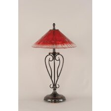 "Olde Iron 27"" H Table Lamp with Raspberry Crystal Glass"