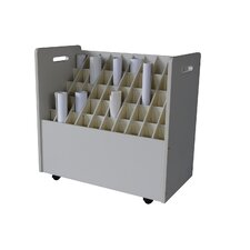 Mobile Wood Roll File with 50 Compartments for Blueprints