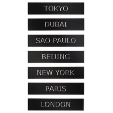 City Life Metal Wall Décor Tiles (Set of 7)