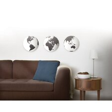 Globo Mirrored Wall Decor Tiles (Set of 3)