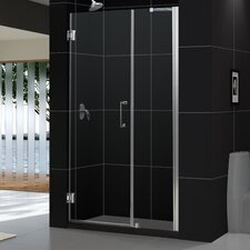 "Unidoor 51 - 52"" W x 72"" H Hinged Shower Door"
