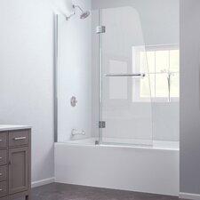 """Aqua 48"""" Frameless Hinged Tub Door, Clear 1/4"""" Glass Door"""