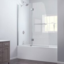 "Aqua 48"" W x 58"" H Frameless Hinged Clear Tub Door"