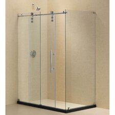 "Enigma-Z 34.5"" x 48.375"" Fully Frameless Sliding Shower Enclosure"