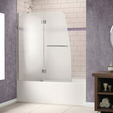 "Aqua 48"" W x 58"" H Frameless Hinged Frosted Left Side Tub Door"